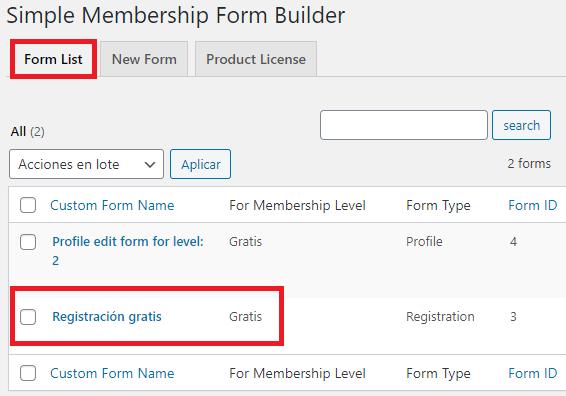 lista-form-builder-wp-simple-membership