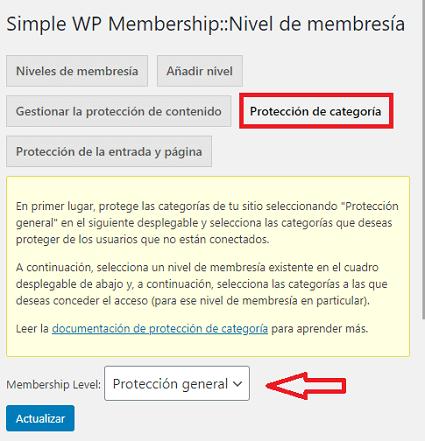 pestaña-protección-de-categoría-wp-simple-membership
