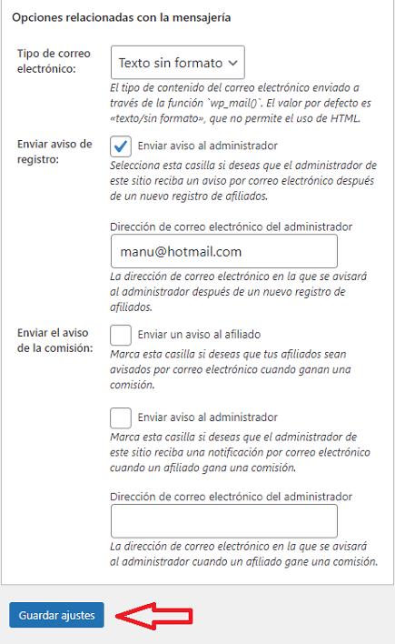 opciones-mensajería-wordpress-affiliates-manager-nuevo