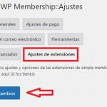Ajustes de extensiones de WP Simple Membership