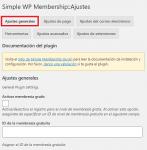 Ajustes generales de WP simple membership plugin